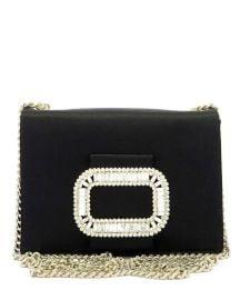 Roger Vivier Pilgrim Micro Satin Chain Shoulder Bag  Black at Neiman Marcus
