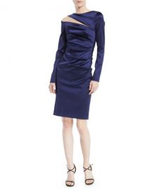 Rogue Shoulder-Slit Long-Sleeve Ruched Stretch-Satin Cocktail Dress at Last Call