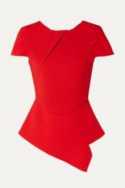 Roland Mouret - Bracknell asymmetric wool-crepe peplum top at Net A Porter