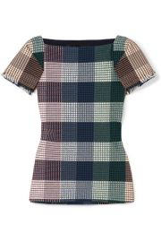 Roland Mouret - Clarke checked stretch cotton-blend boucl   top at Net A Porter