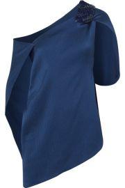 Roland Mouret - Heartwell one-shoulder embellished hammered stretch-silk satin top at Net A Porter