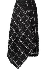 Roland Mouret - Keaton draped cotton-blend tweed midi skirt at Net A Porter