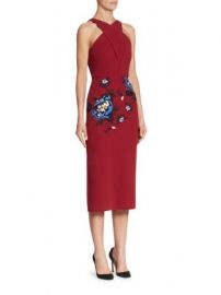 Roland Mouret - Maxton Floral-Embroidered Midi Dress at Saks Fifth Avenue