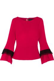 Roland Mouret   Silsden fringed wool-crepe top at Net A Porter