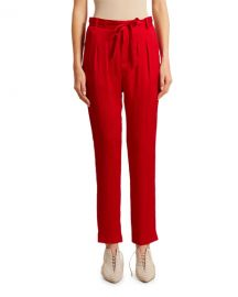 Roland Mouret Biltmore Hammered Silk Trousers at Neiman Marcus