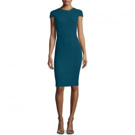Roland Mouret Cap-Sleeve V-Back Sheath Dress at Saks Fifth Avenue