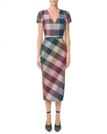 Roland Mouret Chaney V-Neck Cap-Sleeve Plaid Sheath Midi Dress at Neiman Marcus