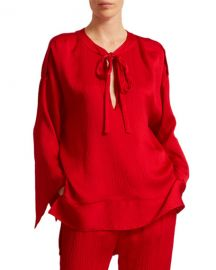 Roland Mouret Ciro Hammered Silk Top at Neiman Marcus