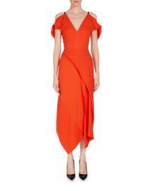 Roland Mouret Cotness Asymmetric-Drape V-Neck Dress at Neiman Marcus
