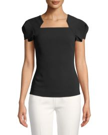 Roland Mouret Fluttered Cap-Sleeve Square-Neck Blouse at Bergdorf Goodman
