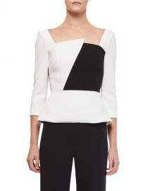 Roland Mouret Houghton 3 4-Sleeve Asymmetric-Neck Colorblock Blouse at Neiman Marcus
