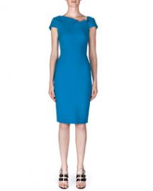 Roland Mouret Lepas Fold-Pleated Crepe Dress Bright Blue at Neiman Marcus