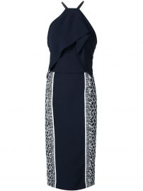 Roland Mouret Navy Blue Side Print Halterneck Dress at Farfetch