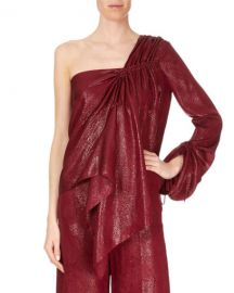 Roland Mouret One-Sleeve Metallic Draped Blouse at Neiman Marcus