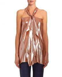 Roland Mouret Pontal Draped Metallic-Silk Jacquard Halter Top at Neiman Marcus