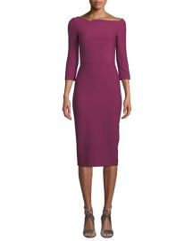Roland Mouret Witham 3 4-Sleeve Asymmetric Boat-Neck Dress at Neiman Marcus