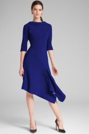 Roll Neck Asymmetrical Crepe Dress by Teri Jon at Teri Jon