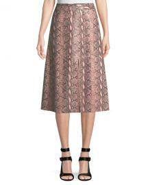 Romi Snake-Print Leather Midi Skirt alice and olivia at Bergdorf Goodman