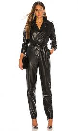Ronny Kobo Alie Faux Leather Jumpsuit in Black from Revolve com at Revolve