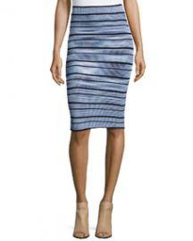 Ronny Kobo Jayme Striped Pencil Skirt Black Multi at Neiman Marcus