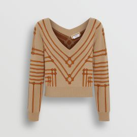 Rope Silk Wool Jacquard V-neck Sweater at Burberry