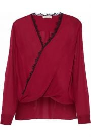 Rosario lace-trimmed wrap-effect silk blouse at The Outnet