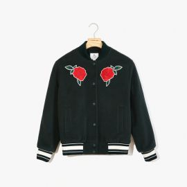 Rose-Embroidered Varsity Jacket at Lacoste