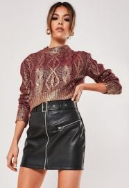Rose Gold Cable Knit Foil Cropped Sweater at Missguided