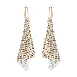 Rose Gold-Tone Crystal Mesh Drop Earrings by Swarovski at Macys
