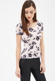 Rose Print Peplum Top  Forever 21 - 2000081769 at Forever 21