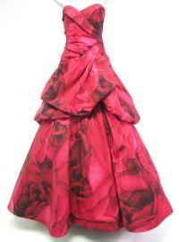 Rose Print Taffeta Strapless Bustled Ball Gown at Monique Lhuillier