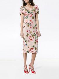 Rose print silk midi dress by Dolce & Gabbana at Farfetch