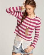Rose's pink striped sweater by Free People at Bloomingdales