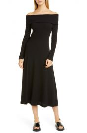 Rosetta Getty   Ribbed Off the Shoulder Long Sleeve Midi Dress   Nordstrom Rack at Nordstrom Rack