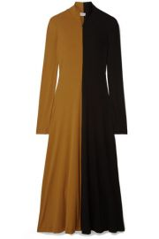 Rosetta Getty - Two-tone cotton-jersey turtleneck midi dress at Net A Porter