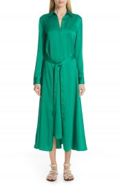 Rosetta Getty Apron Wrap Crepe Back Satin Shirtdress   Nordstrom at Nordstrom