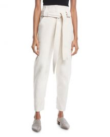 Rosetta Getty Belted High-Waist Stretch-Cotton Cropped Pants at Neiman Marcus