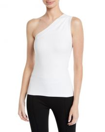 Rosetta Getty One-Shoulder Fitted Interlock Jersey Tank at Neiman Marcus