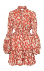 Rosewell Smocked Floral-Print Jacquard Mini Dress at Moda Operandi