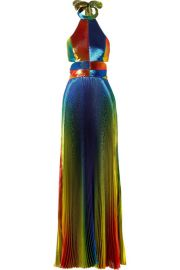 Rosie Assoulin - Cutout pleated silk-blend lam   halterneck gown at Net A Porter