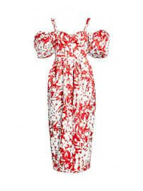 Rosie Assoulin - Off-The-Shoulder Puff-Sleeve Floral Silk Midi Dress at Saks Fifth Avenue