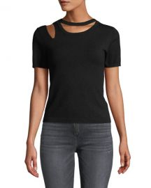 Roslyn Short-Sleeve Cutout Fitted Sweater at Bergdorf Goodman