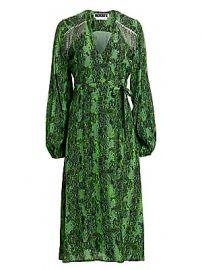 Rotate Birger Christensen - Kira Python Print Puff-Sleeve Midi Wrap Dress at Saks Fifth Avenue