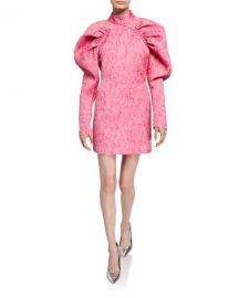 Rotate Birger Christensen Puff-Sleeve Jacquard Mini Dress at Neiman Marcus