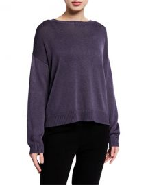Round-Neck Lyocell Silk Sweater at Neiman Marcus