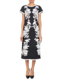 Round-Neck Cap-Sleeve Metallic-Pinstripe Dress with Lace Applique at Bergdorf Goodman