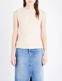 Round-neck leather top at Selfridges
