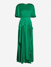 Rovana Ruffled Asymmetric Satin Dress by Maje at Selfridges