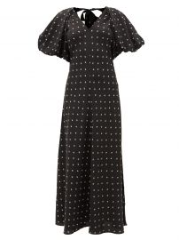 Roxie puff-sleeve floral-print silk-satin dress at Matches