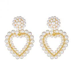 Roxy Heart Pearl Earrings at Haute